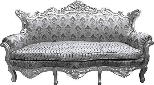 Casa Padrino Barock Sofa Master Silber Muster / Silber - Wohnzimmer Couch Möbel Lounge