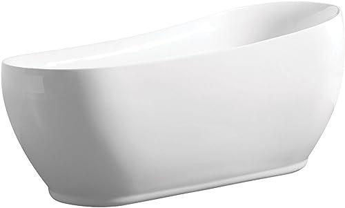 KINGSTON BRASS VTRS723432 71-Inch Contemporary Freestanding Acrylic Slipper Bathtub