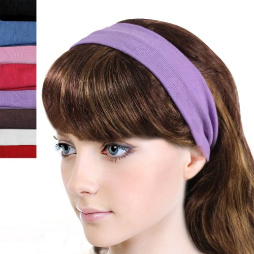 Simple Solid Color Stretch Headband - Multicolor (8 Pcs)