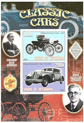 Classic Car Stamps for Collectors - Early classic cars - 2 mint stamps - never mounted and never hinged