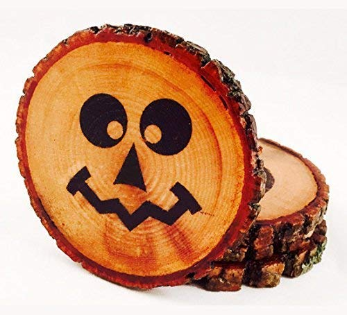 Jack O' Lantern Halloween Theme Natural Wood Coasters (4-Pack), Halloween Tree Wood Beverage Coasters, Spooky Sealed Drink -