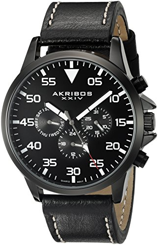 (Akribos XXIV Men's AK773BK Multifunction Swiss Quartz Movement Watch with Black Dial and Black with Cream Stitching Leather Strap)