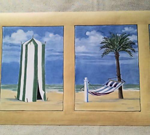 SeashoreビーチCabana Palm Trees壁紙ボーダー–ml427b by Seabrook