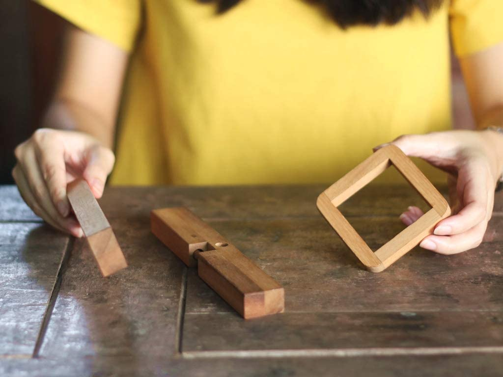 Premium Handmade Gift 7.7 Giant Wooden 3D Brain Teaser for Adults//Wood Disentanglement Game Mysterious X