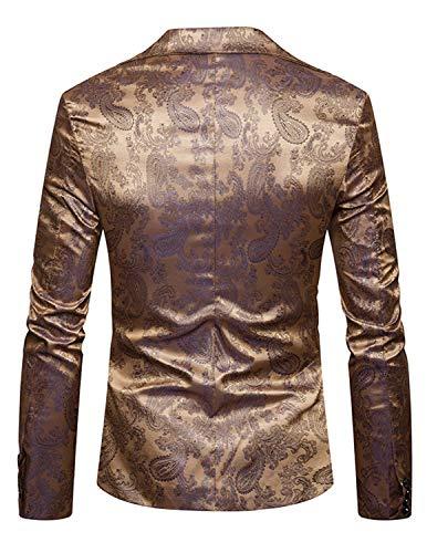 Cóctel Chic Patrón Traje Slim Esmoquin Oro De Chaqueta Paisley Boda La Los Hombres Elegante Fit P1qgUwv