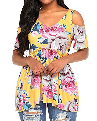 Pattern Shoulder Cut Out - PORALA Women's Summer Floral Print Cut Out Shoulder Short Sleeve Loose T-Shirt Tops,Yellow,X-Large/US(16-18)