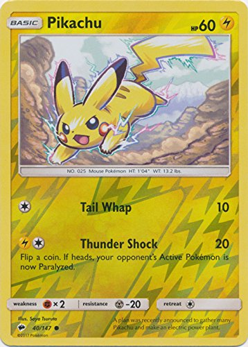 Pikachu - 40/147 - Common - Reverse Holo - Sun & Moon: Burning Shadows