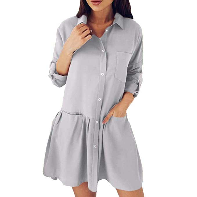 Luckycat Moda Mujer Manga Larga otoño Casual Flojo Bolsillo Blusa Vestido (Gris, Pequeña)