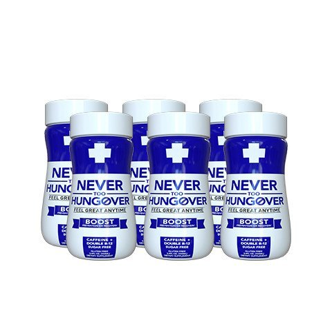 Hangover Prevention & Recovery Drink - Never Too Hungover Boost kit - with Electrolytes for Rehydration, Caffeine and B Vitamins for Energy & to Prevent/Avoid Hangovers - 6 Pack - 3.4 Oz Bottles