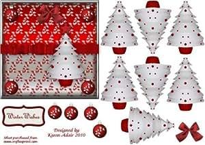 3d árbol de Navidad en rojo y blanco con papel delantera de Karen Adair