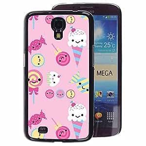 A-type Arte & diseño plástico duro Fundas Cover Cubre Hard Case Cover para Samsung Galaxy Mega 6.3 (Ice Cream Candy Pink Sweets Lollipop)