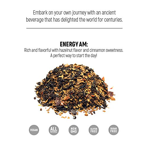 Energy Boosting Tea DAYHOLIC by ekön | Boost Your Energy & Focus While Reducing Fatigue | A Coffee Substitute| Inspired for Men, Loved by Women with touches of rich Hazelnut & Cinnamon | 30 day Supply