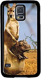Hippo-In-Kangaroo-Pocket Cases for Samsung Galaxy S5 I9600 with Black sides