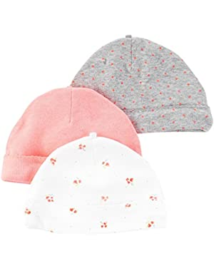 Baby Girls' 3 Pack Infant Caps