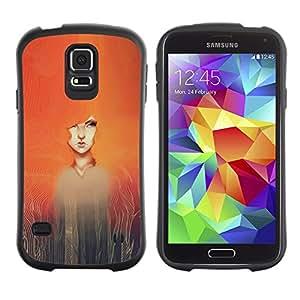 Paccase / Suave TPU GEL Caso Carcasa de Protección Funda para - Watercolor Painting Girl Redhead - Samsung Galaxy S5 SM-G900