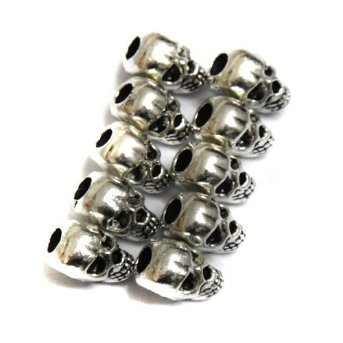 - Skylly 30pcs Approx Tibet Silver Skull Spacer Beads---Great DIY Accessories for Necklace, Bracelets and Earrings Making