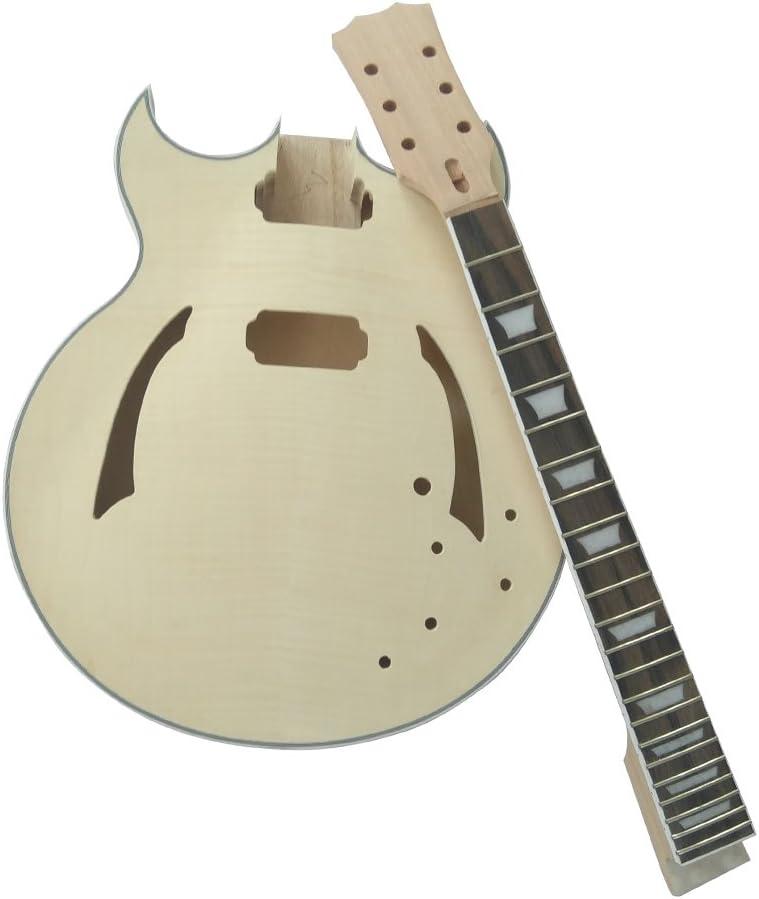 Kalaok Inconcluso Kit de Guitarra Eléctrica DIY Semi Hollow Cuerpo de Tilo Diapasón de Palisandro Cuello de Arce