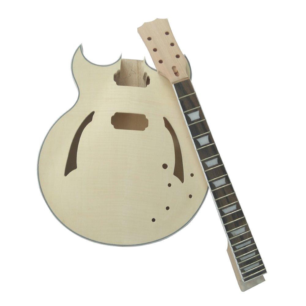 ammoon Guitarra Eléctrica DIY Inconcluso Kit Semi Hollow Cuerpo de Tilo Diapasón de Palisandro Cuello de Arce: Amazon.es: Instrumentos musicales