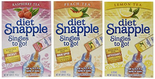 (Lot of 9 Boxes/54packets- Mixed Variety Diet SNAPPLE Sugar Free- Singles to go! 3 Raspberry, 3 Peach, & 3 Lemon Tea)