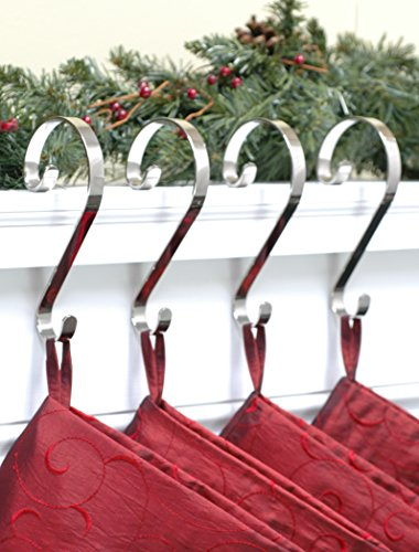 Stocking Scrolls 4-PACK Stocking Hanger Set (Silver)