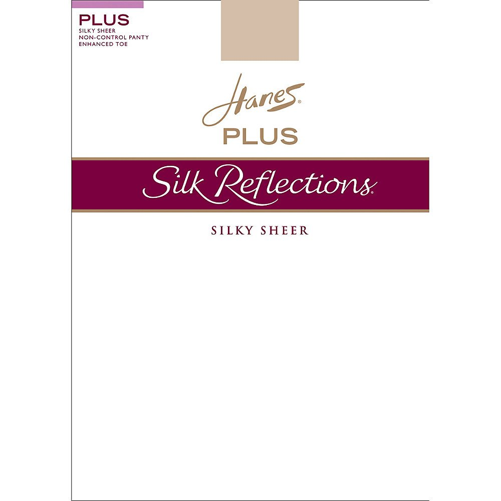 Hanes Womens Set of 3 Silk Reflections Plus Sheer Non-Control Top Enhanced Toe 3P, Travel Buff