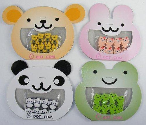 Tiny Panda - Bear, Panda, Rabbit & Frog Erasers, 8 Tiny Erasers in Each Card, 32 Tiny Erasers, #38804