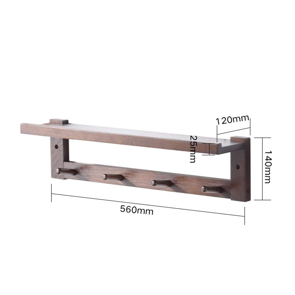 56cm Walnut DYR Coat Rack Wall Coat Rack Wooden Coat Rack Hangers 56cm   69cm   82cm Freestanding (color  Walnut, Size  82cm)