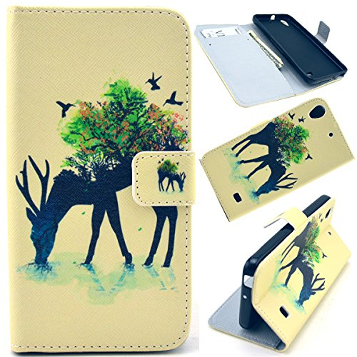 G620S Case,Huawei G620s Case,Gift_Source Brand - Forest Deer Pattern PU Leather Wallet Stand Folio Magnetic Flip Cover Case for Huawei Ascend G620S Case + Stylus Pen