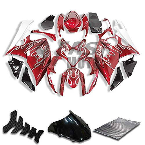 9FastMoto Fairings for suzuki 2005 2006 K5 GSXR1000 GSXR 1000 05 06 GSX R1000 K5 Motorcycle Fairing Kit ABS Injection Set Sportbike Cowls Panels (Red & White) S1015