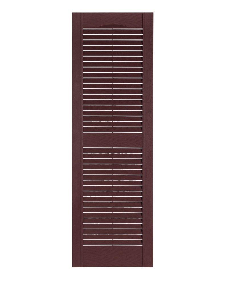 Perfect Shutters Premier Louver Exterior Decorative Shutter, 15'' x 55'', Burgundy