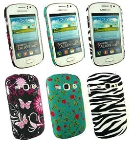 Emartbuy® Samsung Galaxy Fame S6810 Bundle Pack of 3 Clip On Protection Case/Cover/Skin - Zebra Black / White, Rose Garden & Butterfly Garden
