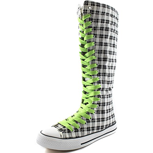 DailyShoes Womens Canvas Mid Calf Tall Boots Casual Sneaker Punk Flat, Grey Wht Plaid Boots, Mint Green Lace