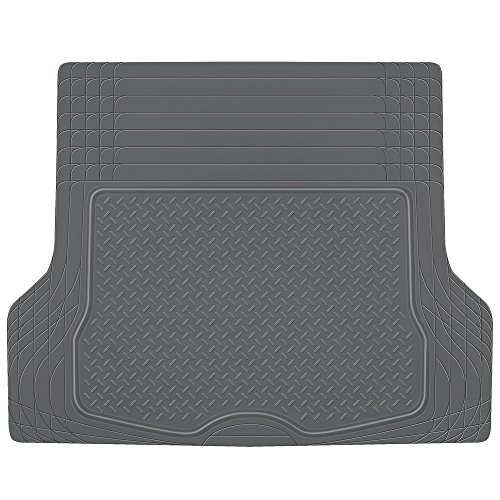 BDK MT785GRAMw1 Heavy Duty Rubber Cargo Floor Mat - All Weather Trunk Protection, Trimmable to Fit & Durable HD Rubber (Gray)