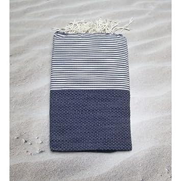 Zanzíbar azul marino – 100% algodón zusenzomer – toalla, 100 cm x 200 cm