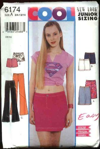 New Look Sewing Pattern 6174 Junior Miss Sizes 3/4-13/14 Easy Straight Skirt Mini-Skirt Shorts Pants
