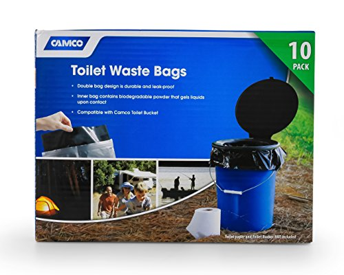 Camco Toilet Waste Durable Double Design is Leak-Proof, Inner Bag Gels Any Liquid, for Camping, Hiking and Hunting and More-10 (41548), 10 - Bags Doodie Waste Double
