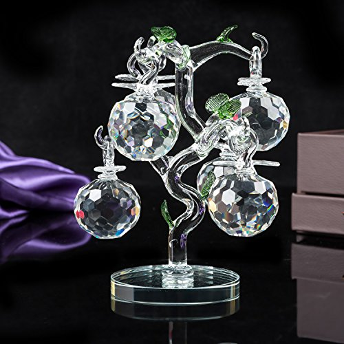 London Boutique Decorative Crystal Glass Apple Tree 6 Crystal Clear Multi Coloured Apples Giftware Present Blue Gift Box (Clear)