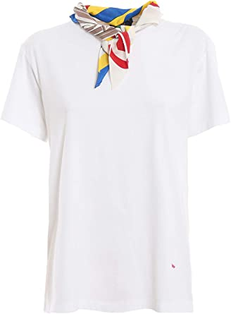 Polo Ralph Lauren T-Shirt con Foulard integrato 211734112001 Bianco Donna: Amazon.es: Ropa y accesorios