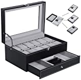 BEWISHOME Watch Box Organizer Case 12 Mens Jewelry Display Drawer w/Adjustable Tray Glass Top Black PU Leather SSH02B