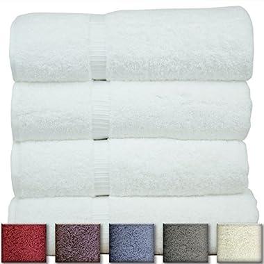 Luxury Hotel & Spa Towel 100% Genuine Turkish Cotton (White, Bath Towel  - Set of 4)