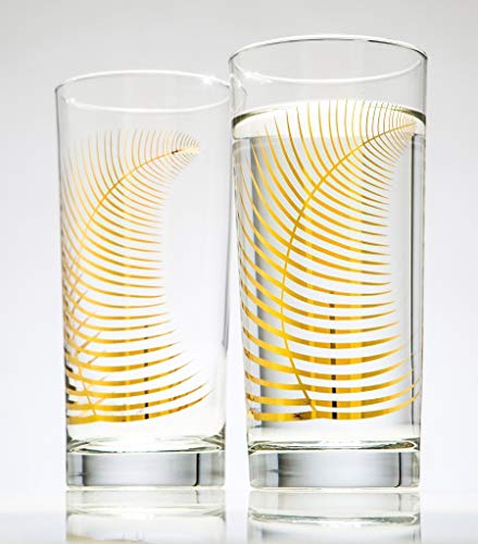 Beverage Highball (Metallic Gold Fern Glasses Set of 2 Highball Glasses, Gold Glassware, Gold Glasses, Wedding Glasses)