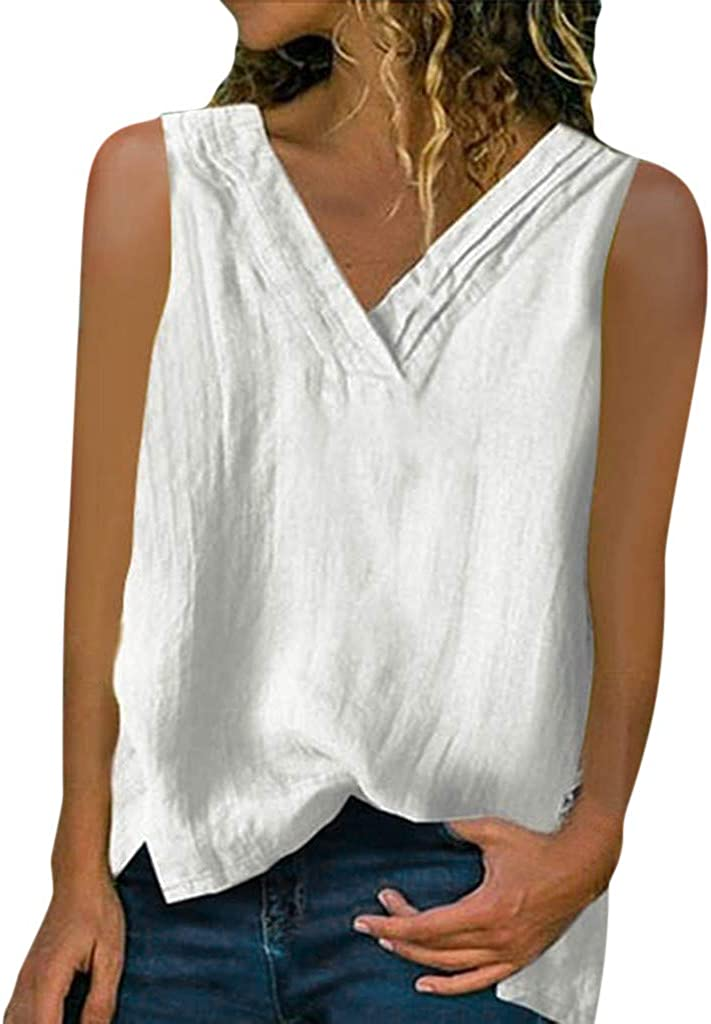 Womens Sleeveless Tops 2020 Summer V Neck Shirts Solid Waffle Knit Loose Fit Tunic Tee Limsea Clearance Sale