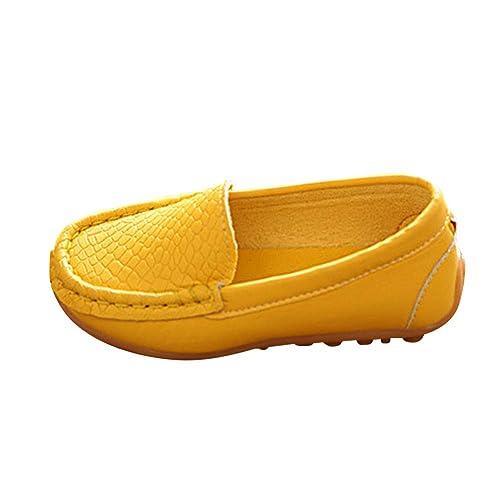 Huatime Zapatos Niño Niña Mocasines - Chicos Chicas Pisos Mocasines Cuero Caminar Guisantes Oxford Slip-on Casual Zapatillas de Deporte Niños Bote Zapato ...