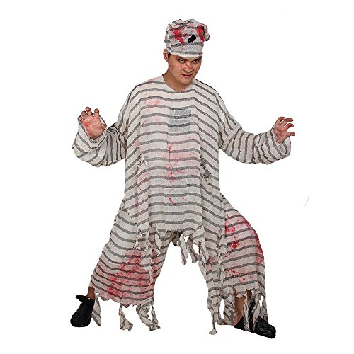 70's Soul Costumes (Halloween Jailbird Costume Men Angry Prison Breaker Jailbreakers Bloody Fancy Dress Mad Crazy Man)