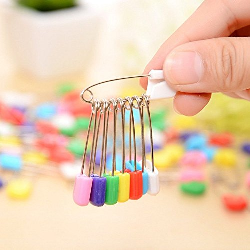 Assorted Color Plastic Head Diaper Pins Safety Locking Baby Cloth Diaper Nappy Pins Coolrunner 50 PCS Baby Safety Pins