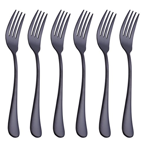 Black 6 Piece Dinner Fork Set 7.3-inch Stainless Steel Table Forks Flatware Silverware Sets Cutlery Utensils Dinnerware Service for 6 Dishwasher Safe Heavy Ladle