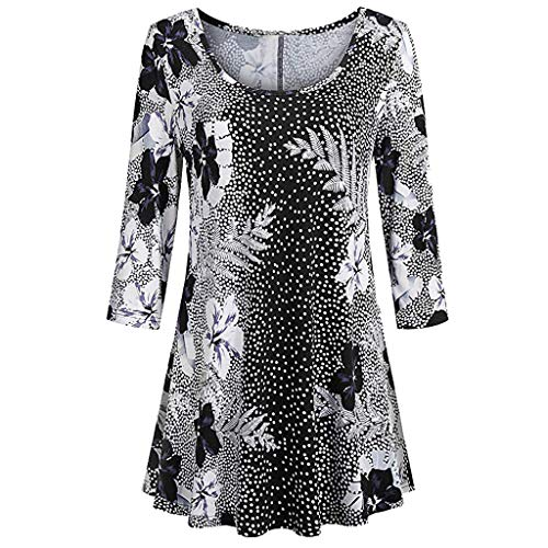 XOWRTE Women's Floral Print Shirts 3/4 Sleeves O-Neck Long Sleeve Tunic Fall Winter Tops Blouse ()