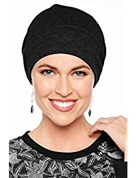 Cotton Relaxed Beanie-Caps for Women with Chemo Cancer Hair Loss Black