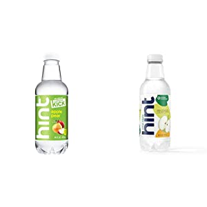 Hint Kick With Caffeine Water, Apple Pear, (Pack of 12) 16 Ounce Bottles & Water Crisp Apple, (Pack of 12) 16 Ounce Bottles, Pure Water Infused
