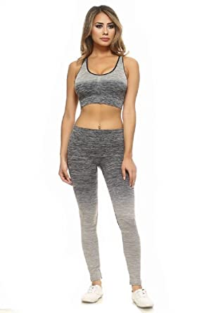 a2712a36a Womens Active Wear Fitness Yoga Exercise Stretch Leggings Sports Bra  Athletic Set at Amazon Women s Clothing store